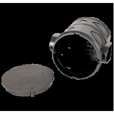 Монтажная коробка под выключатель глубокая для соединения с трубой (черная) с крышкой