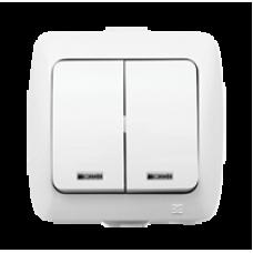 Двойной выключатель с подсветкой EL-BI ALSU БЕЛЫЙ
