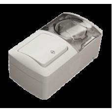 Выключатель проходной + Розетка с заземляющим контактом, с крышкой EL-BI EVA IP54