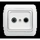 ТВ + спутниковая розетка (8-12-18-20db) (проходная) EL-BI TUNA БЕЛЫЙ