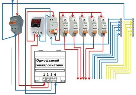 Схема подключения однофазного реле напряжения к однофазной сети 220В