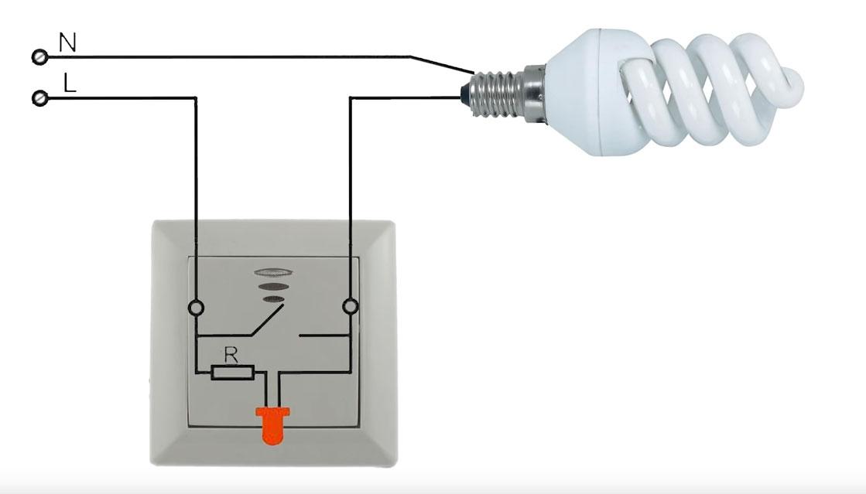 схема подключения  led лампы с выключателем с подсветкой